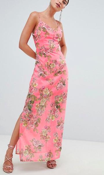 Missguided Chiffon Floral Side Split Maxi Dress