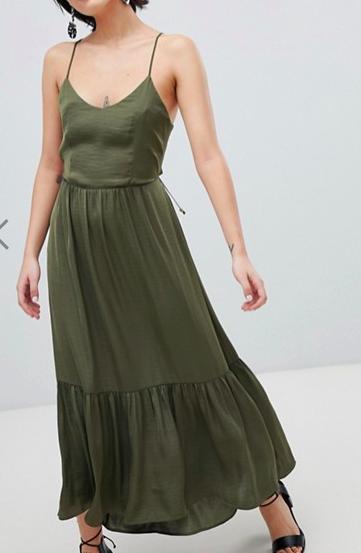 Vero Moda Tiered Satin Maxi Dress