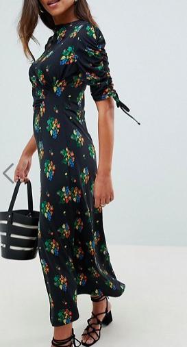 ASOS DESIGN city maxi tea dress with split in black floral