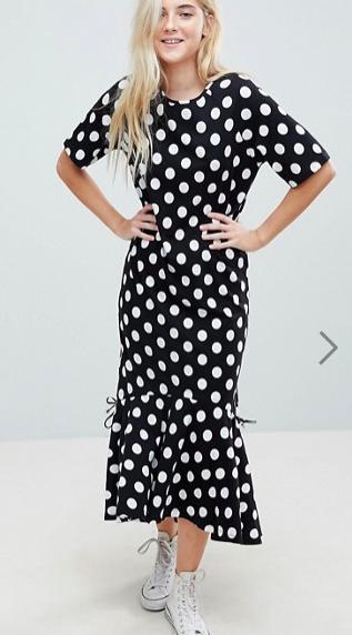 ASOS Drop Hem Maxi Dress In Polka Dot