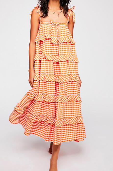 FP Gingham Frill Maxi Dress