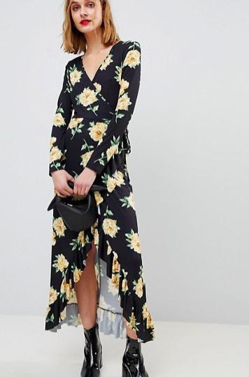 ASOS Maxi Wrap Dress In Large Bloom Print