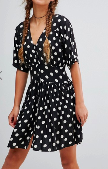 ASOS Casual Mini Tea Dress in Washed Spot