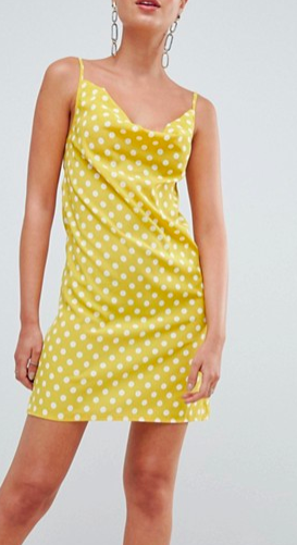 Missguided Polka Dot Cowl Neck Cami Dress