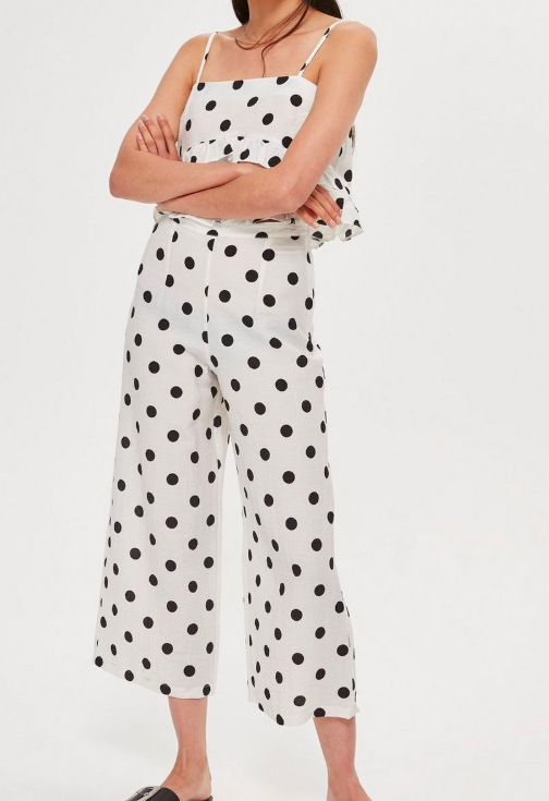 Topshop Polka Dot Cropped Trousers