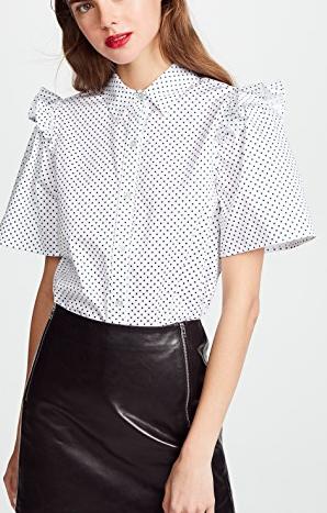Clu Polka Dot Shirt with Ruffle