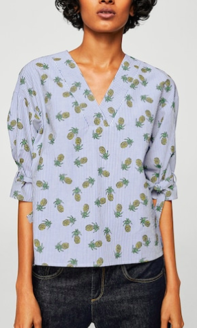 MANGO Striped embroidery blouse