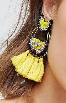Glamorous Yellow Bead Tassel Earrings
