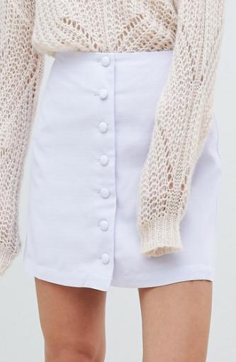 Mango button through a line mini skirt in lilac