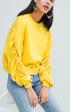 Weekday gathered sleeve sweatshirt in yellow melange