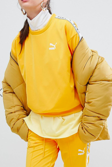 Puma Exclusive To ASOS Sweatshirt With Taped Side Stripe In Yellow