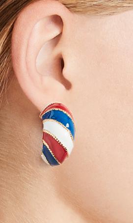 Kenneth Jay Lane Enamel Hoop Earrings
