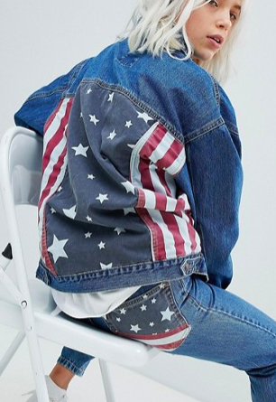 Pull&Bear Usa Flag Oversized Denim Jacket