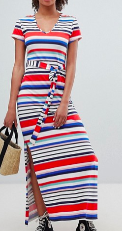New Look Stripe V Neck T-Shirt Maxi Dress