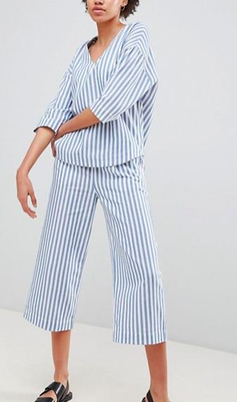 Moss Copenhagen Button Front Shirt & Pants In Summer Stripe Two-Piece