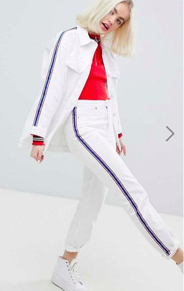 Monki Side Stripe White Denim Jacket & Jeans Two-Piece