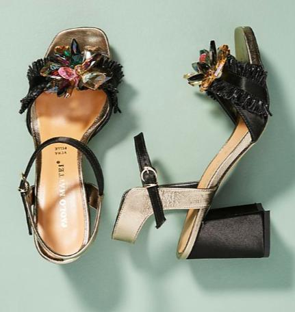 Paolo Mattei Metallic Embellished Heels