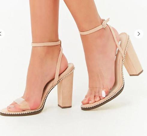 Forever 21 Faux Suede Stud-Embellished Ankle Wrap Heels
