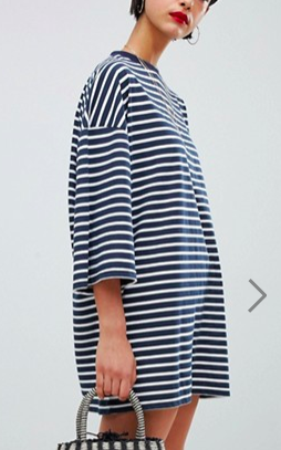 Missguided Oversized Stripe T-Shirt Dress