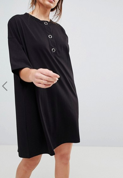 ASOS Super Oversized T-Shirt Dress with Popper Placket