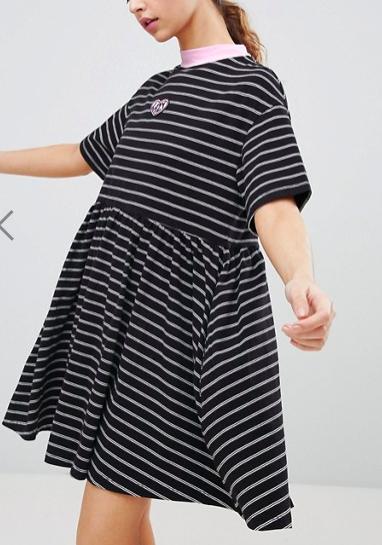 Lazy Oaf Oversized Smock Dress In Stripe