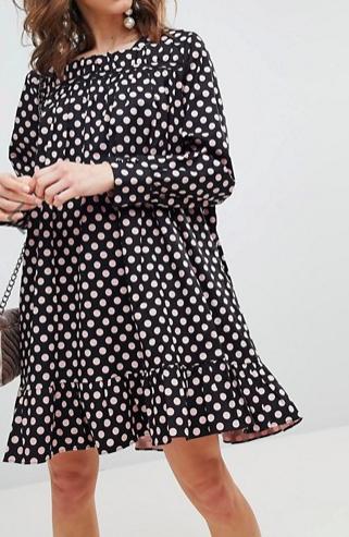 Sister Jane Long Sleeve Smock Dress With Peplum Hem In Oversized Polka Dot