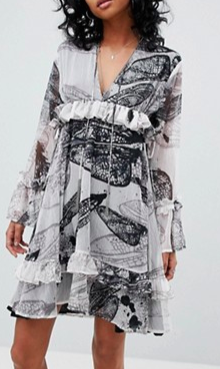 Religion Oversized Smock Dress In Distorted Print