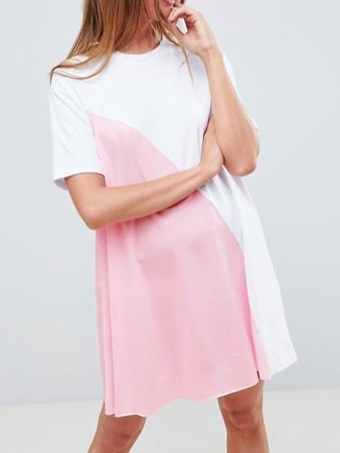 ASOS DESIGN mini color block t-shirt dress