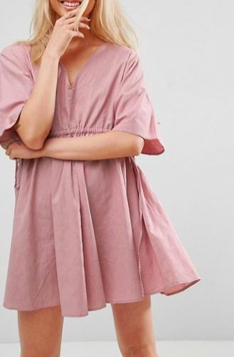 ASOS V Front V Back Smock Mini Dress With Ruched Tie Detail