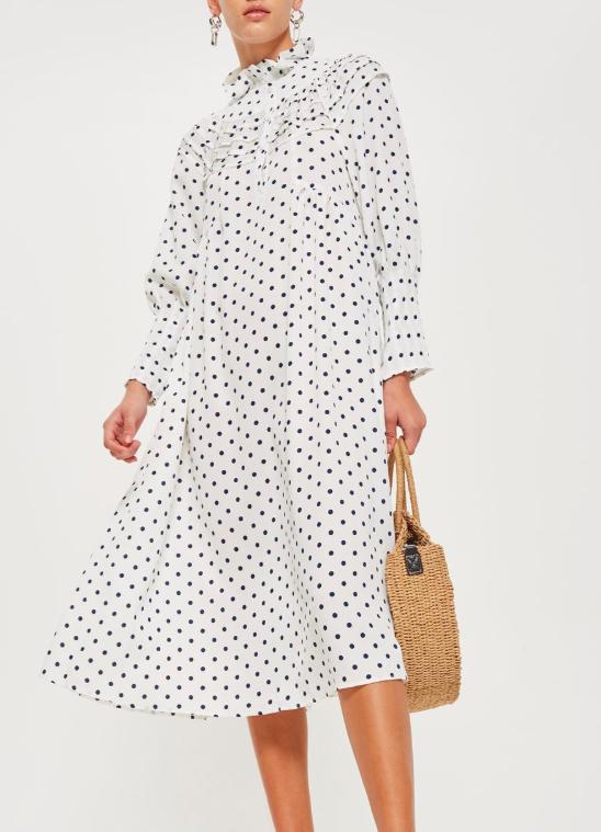 Topshop Polka Dot Frill Midi Dress