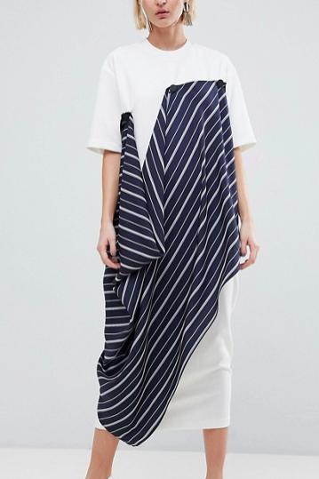 ASOS WHITE Minimal Button T-Shirt Dress