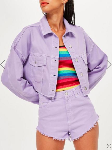 Topshop Linen Denim Hooded Jacket and Shorts Set