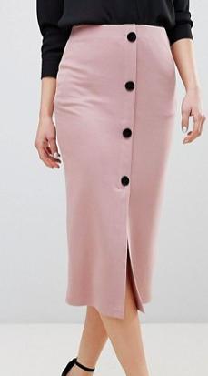 ASOS DESIGN ponte button front pencil skirt
