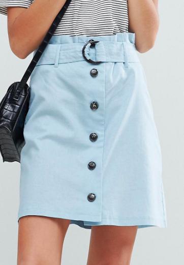 ASOS Tailored Linen Paperbag Mini Skirt