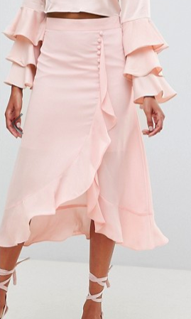 ASOS DESIGN chiffon midi skirt with button and frill detail