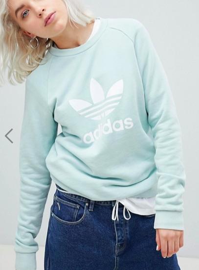 adidas Originals adicolor Trefoil Oversized Sweatshirt In Mint