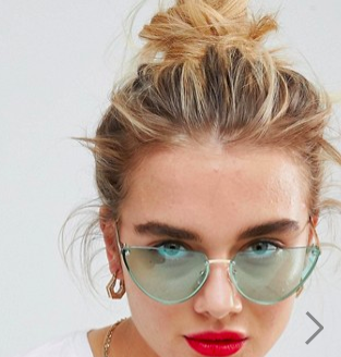 ASOS DESIGN Rimless Cat Eye fashion glasses With Cut Off Lens In Light Green Lens