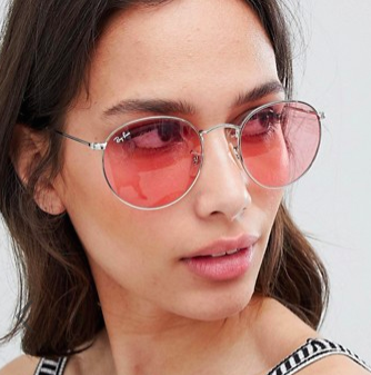 Ray-Ban round sunglasses with pink lens