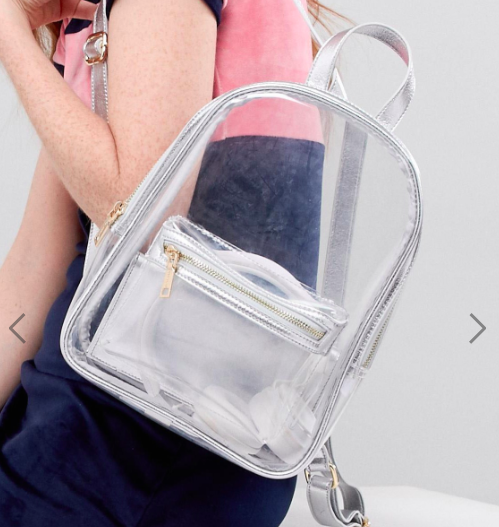 Pull&Bear perspex backpack in clear