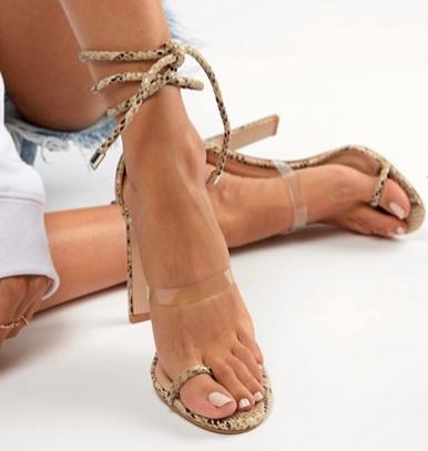 Simmi Vanessa snake clear detail heeled sandals