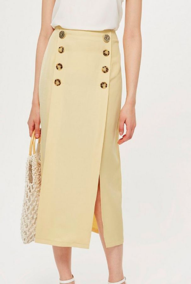 Topshop Contrast Button Split Midi Skirt