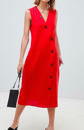 Mango button detail midi dress linen in red