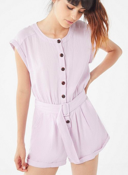 UO Julie Linen Button-Down Romper