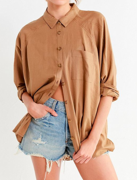 UO Brendan Button-Down Linen Shirt