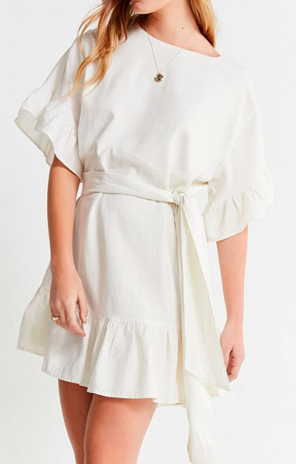 UO Suddenly Spring Linen Ruffle Tie Dress