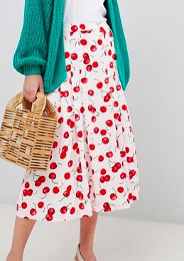 Essentiel Antwerp Midi Skirt in Cherry Print