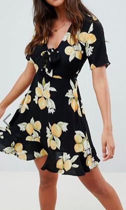 ASOS DESIGN Ultimate Lemon Print Mini Skater Dress With Tie
