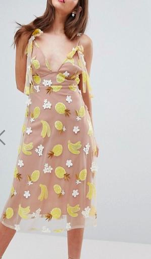 For Love and Lemons Fruit Punch Sequin Midi Dress