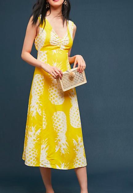 Anthropologie Pineapple Midi Dress