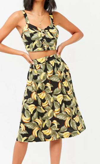 Forever 21 Linen-Blend Banana Print Skirt